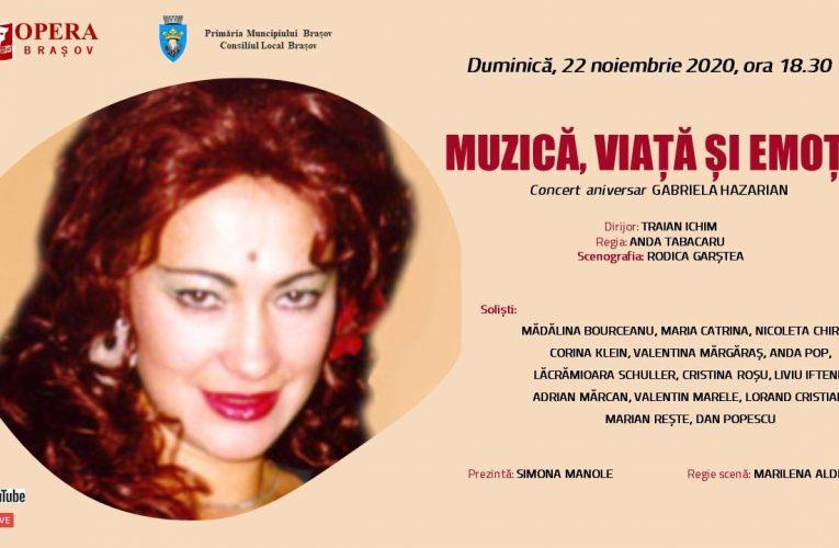 Concertul aniversar dedicat mezzosopranei Gabriela Hazarian live pe Facebook și Youtube