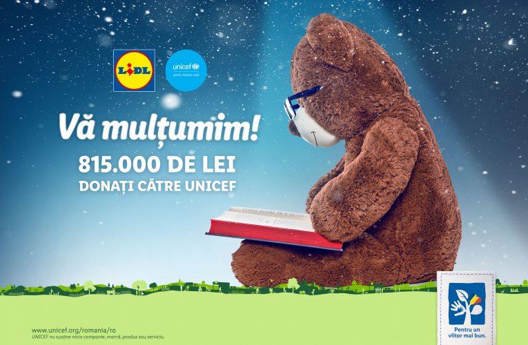 Lidl doneaza cu sprijinul clienților săi 815.000 de lei către UNICEF