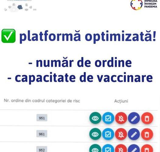Comitetul Național de Vaccinare a anunțat că platforma de programare a fost optimizată